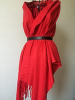 Precio de Armadura usada-Las lanas de seda rojas de los hombres de la señora de la manera cepillaron el chaleco tejido fino de la bufanda robaron caliente para el uso diario como bufanda de x'mas del regalo