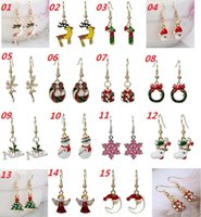 Wholesale New Christmas Jewelry Santa Claus Christmas Tree Snowman Charm Earrings Lady Dangle Chandelier Earrings Christmas Ornaments