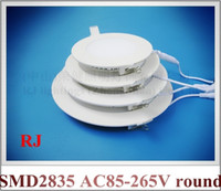 Wholesale recessed install LED ceiling light round LED panel light lamp downlight down light flat light W AC85 V CE aluminum PMMA