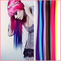 Wholesale Fashion Women s Girl s Hair Extensions Ombre Multicolor Long Straight Synthetic Hair Clip in synthetic hair