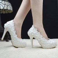 ballet slipper wedding shoes - The bride shoes lace flowers White high heel wedding Slipper shoes pearl The bride shoes