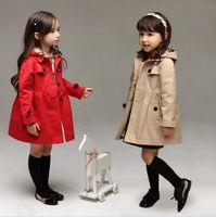 Cheap Classic England Girls Wind Coat Hooded Overcoat Children Coat Outwear Jackets Long Sleeve Trench Coat KB456