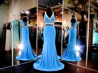 azure green - Azure Jersey V Neck Two Pieces Prom Party Dresses Sleeveless Formal Evening Dress White Beading Brilliant Pageant Gowns Racer BacK