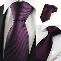Wholesale New Striped Plum Purple Men s Tie Formal Suit Necktie Wedding Holiday Gift