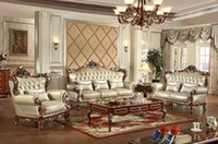 Wholesale European Style Living Room Furniture Genuine Leather Sofa Home Furniture Carving Soildwood High end Furniture