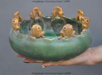 antique porcelain pots - Antiques china old porcelain carved frog bufo toad statue Dish plate bowl pot