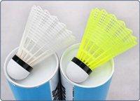 Wholesale Hot dozen good quality durable nylon badminton yellow white plastic shuttlecock nylon training shuttles for kids adult