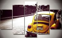 beetle car pictures - Framed Printed pieces beetle yellow car Painting room decoration print poster picture canvas