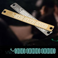 auto number plate - 15 cm Silver Gold auto Car Temporary Telephone Number Parking Card Notification Night Luminous Sucker Plate Phone Number Card