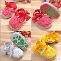Wholesale Flower Brand Style New Summer Spring Girls babys Shoes Crochet Shoes First Walker Shoes for Girls Bowknot Shoes Baby prewalker Shoes