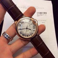 balloon watch - Classic Series Blue balloons White Dial Famous Dress Dial Rose Gold Case Brown Leather Strap Pearl automatic movement Men s Watches mm