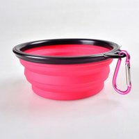 Wholesale Portable Foldable Dog Silicon Bowls Feeder Pet Bowls Feeders CM Diameter Multiple Colors Portable Travel Outdoors Pet Bowls With Hook