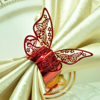 Wholesale Red Butterfly Design Table Paper Napkin Rings For Wedding Party Decoration Porta Guardanapo
