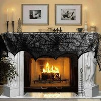 Wholesale New hot selling Halloween Decoration Piece Black Lace Spiderweb Fireplace Mantle Scarf Cover Festive Party Supplies cm