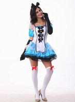 alice clothing - 10Pcs Alice In Wonderland Role Play Spaghetti Strap Dress Sexy Cosplay Halloween Costumes Uniform Temptation Stage Performance Clothing