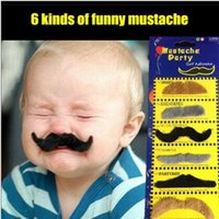 adhesive mustaches - 6pcs Costume Party Halloween Fake Mustache Moustache Funny Fake Beard Whisker Self Adhesive Mustaches Set
