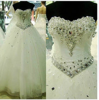 Wholesale Beaded Crystal Soft Tulle Ball Gown Wedding Dress Romantic Sweetheart Bridal Dress Lace Up Back