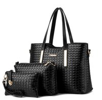 acrylic patterns - 3pcs set composite bag Women Lash Package PU Leather Bags Crocodile Pattern Handbag Shoulder Crossbody Bag Clutch Bag