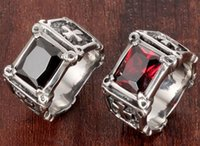 antique christian crosses - Antique Christian Ancient Fashion L Stainless Steel Casting Large Red Black Ruby Imitation CZ Crystal Cross Ring SZ