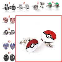 Wholesale 48 type pocket monster poke ball batman superman Cufflink Cuff Links for women men shirts dress suits Cufflinks Christmas gift