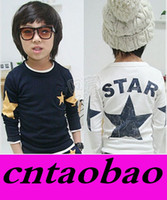 Wholesale Cotton Shirts Long Sleeve T Shirt Children T Shirts Child Shirt Fashion Round Neck Shirts Kids Clothing Boys Stars Printed Casual T Shirt