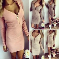 adult zip line - Plus Size New Fashion dresses Women autumn Winter Clothing Sexy Zip V Neck Casual Long Sleeve Bodycon Party Clubwear Bandage Mini Dress DHL