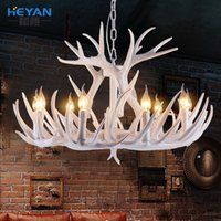 antler lamps - Europe Country Head Candle Antler Chandelier American Retro Resin Deer Horn Lamps Home Decoration Lighting E14 V