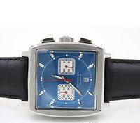 auto resin - newFashion Blue Face Mechanical Hollow Men s Wristwatch Monaco Swiss Leather Crystal Male Watch
