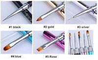 Wholesale Crystal Mink Hair Gel Pen Nail Art Care Tools Crystal Gel Pen Brush Handle Nail Art Tool Pen Anti slip Handle Soft Hair