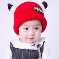 baby winner - Winner Hats Kids Knitting Crochet Hats Solid Cute Angle Hats Baby Girls Boys Wool Hedging Hat Toddler Thickened Winter Hats ermz a16