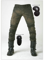 Wholesale motorcycle pants korean Motorpool stylish riding jeans racing Protective pants of locomotive Black Stain over Olive green