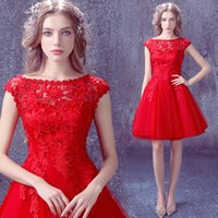 Wholesale New European round neck red lace short paragraph bride toast clothing company s annual dinner will mitzvah dress