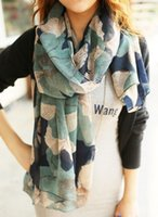 authentic scarf - Europe the latest Graffiti Ink Flowers Gradient Authentic Voile Women Scarves Shawl L A