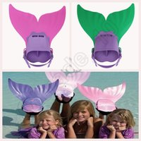 Wholesale Kids Mermaid Feet Tail Monofin Flippers Colors Real Swimmable Train Tail Costume Mermaid Mono Fin Swimmable Tail Flippers OOA495
