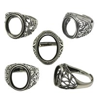 antiques thailand - Beadsnice Thailand Silver Rings DIY Ring Setting Antique Style Filigree Ring Base for Oval Stones Sterling Silver Rings ID