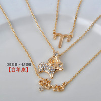 aries females - New zodiac multilayer necklace Long Pendant Necklace high quality chain crystal Europe charm Set Fashion Female Jewelry Aries