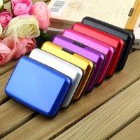 Wholesale 1 PC Hot Pop Unisex Women Men Purse Aluminium Business ID Credit Card Pocket Hasp Stripe Case Box Wallet Holder mm