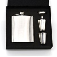 Wholesale 7oz Stainless Steel Hip Flask Sets jack Flagon With Funnel Cups wine Whisky Hip Flask Portable Flagon bottle Gift Box Packing
