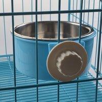 Alimentation pour animaux de compagnie portatif Chien pour chat Cuvette suspendue Plongeur pour eau fixe Bouteille pour boisson Cuvettes d'alimentation pour voyage Conteneur pour aliments pour chiens en plastique Candy Color C-004