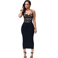 Wholesale 2016 Brand Fashion Women Sexy Black Dress Bustier Lace Sleevelss Top Black Panelled Bodycon Party Dress
