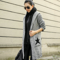Wholesale Cardigan Open Stitch Women Sweater Slim Autumn Winter Long Knitted Cardigans Plus Size Hooded Winter Coat WKS0025
