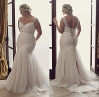 Wholesale Plus Size Mermaid Wedding Dresses Lace up Fitted Sweetheart Cap Sleeves Beaded Boho Beaded Bridal Gowns with Beaded Belt Ruched