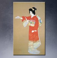 beautiful japan pictures - Oil painting printed on canvas by Japan Bijin ga beautiful girl for wall pictures in living room decoration and huge size pic