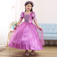Wholesale Children Kids Cosplay Dresses Rapunzel Costume Princess Wear Perform Clothes purple Tutu dresses princess dress for kids girls party dresses