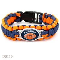 Wholesale Hot Auburn State Football Paracord Sports Team Bracelet Auburn Survaval Parachute Rope Bracelet Outdoor Camping Bangles Gift Drop Shipping