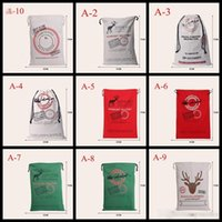 Wholesale 2016 new Christmas Large Canvas Bags styles for choose Santa Claus Drawstring Bags With Reindeers cotton Christmas Gift decorations Bags