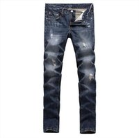 true religions jeans - Morden fashion straight slim embrodery true men jeans men s hole ripped cowboy trousers casual brand religion jeans men