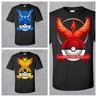 Wholesale Poke Mon Go Sports Shirts Black Pocket Monster Causal Shirts Fashion Team Valor Team Mystic Team Instinct Sports Shirts Styles Available