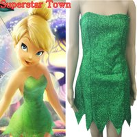 Wholesale New Summer Anime Dresses Tinker Bell Cosplay Tinkerbell Dress Green Fairy Pixie cosplay Adult Costume