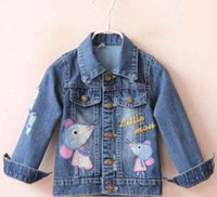 Wholesale 2016 Children Clothing Outerwear Coats for Kids Clothes Long Sleeve Cartoon applique Embroidery denim Jackets Girls casual cowboy Coats